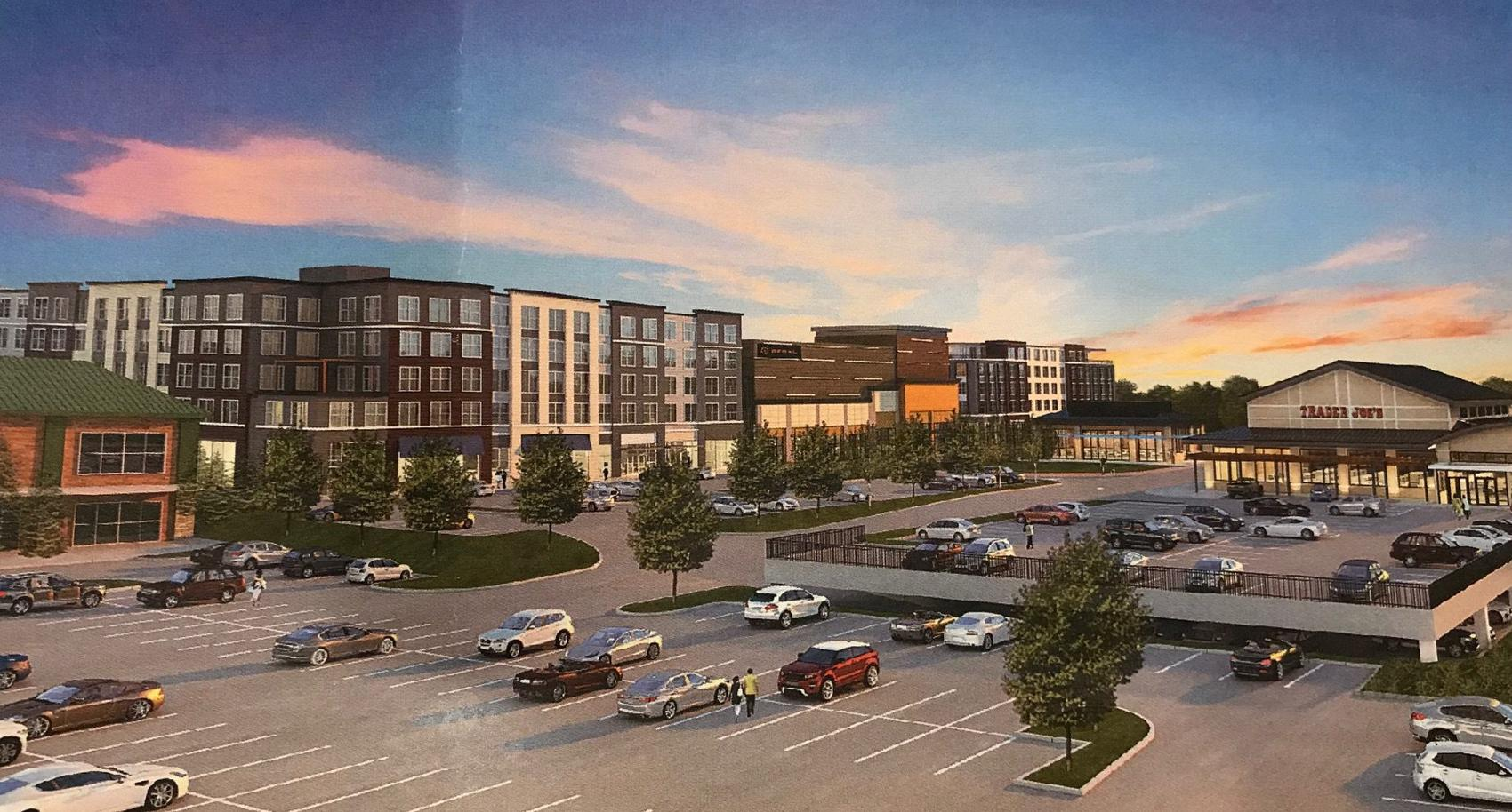 Rendering of Market and Main Trader Joe's and Parking Lot